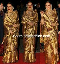 Rekha in Kanjeevaram Saree – South India Fashion Kanjivaram Sarees, Silk Sarees, Saris, Kurti, Bridal Silk Saree, Saree Wedding, Rekha Saree, Latest Indian Fashion Trends, Golden Saree