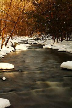 Hackblebarney Park Black River Winter Scene