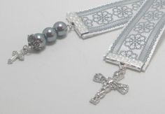 Silver Flower Ribbon Bookmark With Cross by WhispySnowAngel, $8.00