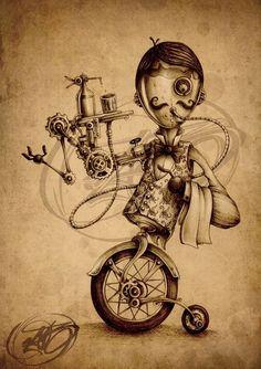 Paride Bertolin's steampunk art Steampunk Drawing, Arte Steampunk, Steampunk Artwork, Steampunk Makeup, Steampunk Cards, Steampunk Interior, Steampunk Furniture, Steampunk Pirate, Steampunk Skirt