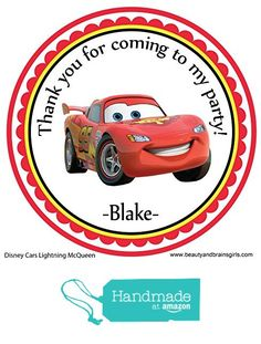 Disney Cars Lightning McQueen Personalized Stickers Birthday Party Favors - Treat Tag Toppers- 24 Stickers Popular Size 2.5 Inches. Peel- and- Stick Backing Self-Adhesive Stickers from Custom Party Favors, Handmade Craft , and Educational Products http://www.amazon.com/dp/B01E9N3LL8/ref=hnd_sw_r_pi_dp_8Kdexb1KN1JCZ #handmadeatamazon