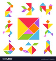 Tangram game set vector image on VectorStock Preschool Learning, Toddler Activities, Preschool Activities, Tangram Puzzles, Game Development Company, Material Didático, Color Shapes, New Things To Learn, Background Patterns