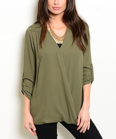 Another great find on #zulily! Olive Surplice Top #zulilyfinds