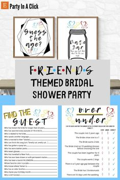 Friends Themed Bridal Shower Party Bachelorette Decorations, Birthday Party Decorations, Dates In A Jar, Bachelorette Drinking Games, Hawiian Party, Hot Wheels Party, Bridal Shower Party, Get The Party Started