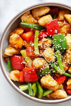 Spicy Teriyaki Chicken Stir Fry - easy and authentic Asian chicken stir fry with Annie Chun's Teriyaki Sauce and Korean Gochujang. So delicious   rasamalaysia.com
