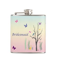 Springtime Bridesmaid Hip Flask