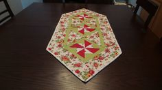 Rose floral tablerunner with green accents by LadyInStitches on Etsy