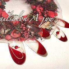 ネイル デザイン 画像 1276005 クリア レッド くりぬき ハート フレンチ デート パーティー 冬 バレンタイン クリスマス ソフトジェル ハンド ロング ミディアム ショート