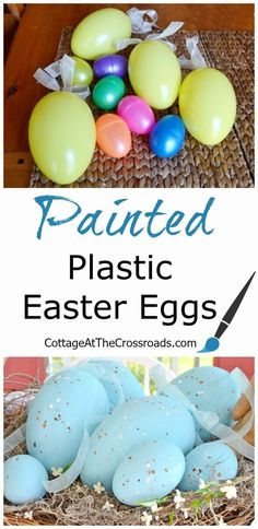 Do you know how easy it is to paint those cheap, plastic Easter eggs? Easter eggs Painted Plastic Easter Eggs in a Made-Over Basket - Cottage at the Crossroads Plastic Easter Eggs, Easter Crafts For Kids, Easter Ideas, Easter Stuff, Bunny Crafts, Easter Food, Diy Crafts, Easter Recipes, Diy Projects Easter