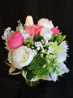 Pink Peonies, green trick,  white tulips, mums, berries, iris, snap dragons, A Mews Designs Original www.mews-designs.com Raleigh, Cary, Apex area North Carolina Wedding Florist