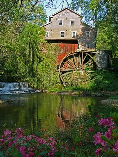 Feed Mill with water wheel - really pretty