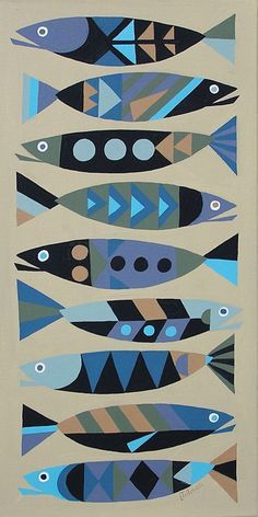 """""""Linda Tillman takes inspiration for her pictures from mid century wallpapers material etc. I like these fish as they are pretty colours and non threatening. Abstract Illustration, Abstract Art, Fish Crafts, Fish Design, Barn Quilts, Fish Art, Art Plastique, Art Lessons, Art Projects"""