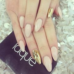 Almond nudes with gold accent nails