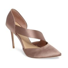 Women's Imagine By Vince Camuto Oya Asymmetrical Pointy Toe Pump (1,945 MXN) ❤ liked on Polyvore featuring shoes, pumps, warm taupe satin, taupe pumps, pointed-toe pumps, stiletto pumps, d'orsay shoes and pointed toe stilettos