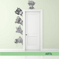 (3588f) Nálepka na stenu - Medvedíky III. (v odtieňoch sivej) | ARTSABLONY.SK