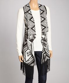 Carapace Black & White Geometric Hi-Low Vest by Carapace #zulily #zulilyfinds. The back is beautiful'