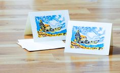 Note Cards Set of  5 Sea Turtle Watercolor Painting by CreativesByCourtney on Etsy