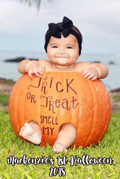 Halloween baby in a pumpkin .trick or treat smell my feet Baby Pumpkin Pictures, Halloween Baby Pictures, Babys 1st Halloween, Baby In Pumpkin, Baby Halloween Costumes, Baby Pumpkin Costume, Henna Designs, Fall Baby Pictures, Baby Art