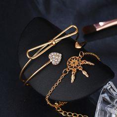 Elegant Cuff Bracelets Chain Dream Net Bowknot Crystal Heart Fashion Multilayer Bracelet for Women - Gold Shop Now Fashion Bracelets, Cuff Bracelets, Pendant Earrings, Bracelet Sizes, Body Jewelry, Jewelry Watches, Women Jewelry, Chain, Crystals
