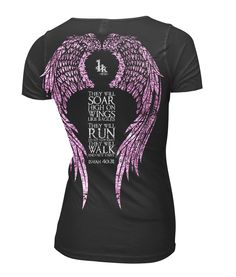"""Isaiah 40:31 S/s V-Neck T-shirt              This cool graphic Christian t-shirt uses original, hand-illustrated artwork.  Inspired and designed around Isaiah 40:31, """"They will soar on wings like eagles; they will run and not grow weary, they will walk and not faint. """" Printed on a 100% cotton, perfect weight, v-neck, t-shirt.  This is an original 1King worship wear Christian t-shirt.   Due to the nature of the materials and washes we use to manufacture our unique clothing, it is…"""