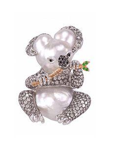 Mario Buzzanca Koala bear brooch, buzzanca_gioielli - Australian Baroque South Sea Pearls & Grey Diamonds #oneofakind
