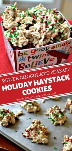 Whip up some White Chocolate Peanut Holiday Haystack Cookies for Christmas in July! This no-bake recipe is easy to prepare ahead and freezer-friendly. With only 4 ingredients, you can make a beautiful and delectable dessert idea that can be modified for any holiday! Holiday Cookie Recipes, Easy Cookie Recipes, Holiday Cookies, Christmas Desserts, Holiday Treats, Christmas Recipes, Christmas Foods, Christmas Candy, Holiday Baking