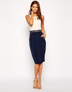Enlarge Little Mistress Midi Pencil Dress with Embellished Waist and Pockets
