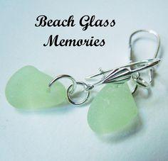 Lime Green Sea Glass Earrings Beach Glass by BeachGlassMemories, $19.50