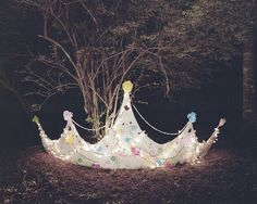 Photographer Yusuke Suzuki makes me want to pull out my secret stash of construction paper, pipe cleaners, glitter and felt and build a fort in the woods. (via fotostalgie) Niece Birthday, Zeta Tau Alpha, Princess Theme, Queen, Interior Exterior, Installation Art, Fairy Tales, Fairy Dust, Whimsical
