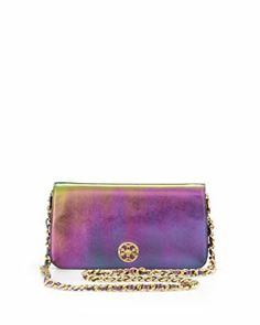 L09M8 Tory Burch Adalyn Metallic Clutch Bag, Green Hologram