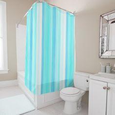 Cool Ocean Blue Aqua Turquoise Watercolor Stripes Shower Curtain - cool gift idea unique present special diy