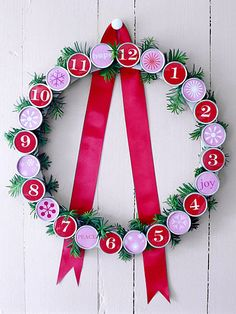 Count down the days to Christmas with a creative Advent calendar or Christmas countdown. For each day, include a small gift or activity suggestion -- we've listed some holiday-theme ideas to get you started. Homemade Christmas Wreaths, Holiday Wreaths, Holiday Crafts, Christmas Holidays, Xmas, Christmas Classics, Christmas Countdown Calendar, Diy Advent Calendar, Calendar Ideas