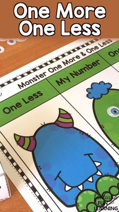 Engaging One More One Less Math Games for Preschool, Kindergarten and First Grade Math Centers or Small Group Math Teaching Numbers, Math Numbers, Decomposing Numbers, Kindergarten Math Games, Preschool Activities, Math Math, Math Workshop, Math Stations, First Grade Math