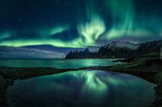 Norwegia, Wyspa Senja, Morze Norweskie, Zorza polarna, Góry