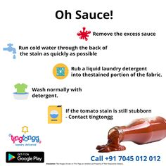 Here's what you do when to drop sauce on your clothing! Visit: http://www.tingtongg.com/