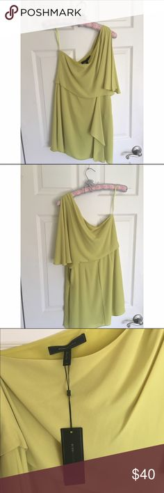 """🌙 NWT BCBGMaxAzria cocktail dress Bought this for a wedding only to discover said wedding was black tie! 😢 Love this trendy and unexpected color. One-shoulder. Quite short and sexy on 5'8"""" me. Perfect for weddings, formals, date night, bachelorettes. BCBGMaxAzria Dresses Mini"""
