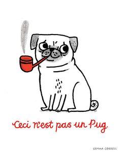 'ceci n'est pas un pug' by gemma correll Mops Tattoo, Pug Tattoo, Tattoos, Art All The Way, Pug Art, Labrador Retriever Dog, Amazing Drawings, Bull Terrier Dog, Doodles