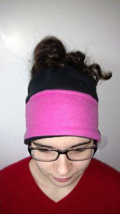 Messy bun hat - ponytail hat - fleece messy bun hat - messy bun beanie - running hat - gift for runner - gift for her -  hiking hat by AshNBeez on Etsy