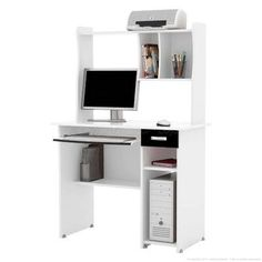 Mesa para Computador/Escrivaninha 1 Gaveta Elite Preto/Branco - EJ Móveis