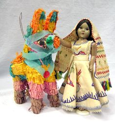 Vtg 1950s Mexican Folk Art Hard Plastic Mohair Doll and Pinata Donkey Embroidered by MermeowTreasures on Etsy