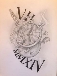 Clock Time- so much 'time' for this! Baby Tattoos, Time Tattoos, New Tattoos, Pocket Watch Drawing, Pocket Watch Tattoos, Compass Tattoo, Arm Tattoo, Sleeve Tattoos, Samoan Tattoo