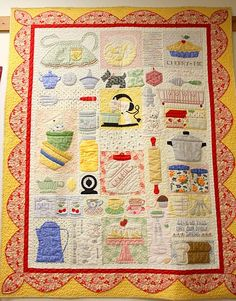 "This is Lori Holt's ""grandma's kitchen"" quilt hanging at American Quilting for the Bee in my Bonnet trunk show"