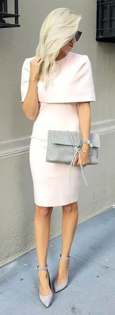 The Elliatt Elevate Light Pink Midi Dress is rising up high in the fashion ranks! A structured tier forms cape sleeves atop a figure-flaunting bodice and a midi skirt. Cute Dresses, Beautiful Dresses, Cute Outfits, Work Dresses, Dresses With Capes, Skirt Outfits, Dress Work, Simple Dresses, Winter Outfits