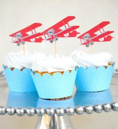NEW - The Vintage Plane Collection - Custom Cupcake Toppers and Their Wraps from Mary Had a Little Party via Etsy Planes Birthday, Planes Party, Transportation Birthday, Vintage Airplane Party, Vintage Airplanes, Cupcake Toppers, Cupcake Cakes, Cupcakes Kids, Cupcake Picks