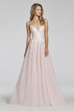 a119c679f1c Style 1709 Denver Blush by Hayley Paige bridal gown - Pink Berry  posy-embroidered net A-line bridal gown