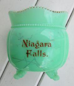 "Antique Niagara Falls Souvenir 3 Footed Bowl Gold Rim Jadeite (?)  3"" tall"