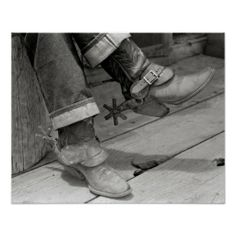 A close-up view of a cowboy's boots and spurs. Pie Town, New Mexico. Cowboy Spurs, Cowboy Boots, Pie Town, Old West Photos, Vintage Cowgirl, Vintage Fashion, Men's Fashion, Custom Posters, Custom Framing
