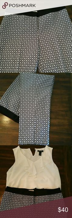 """Chicos So Slimming cotton blend pants EUC.  Chicos So Slimming pants with diamond pattern...black, navy, white...with 2 """" black band around waist.  Ankles with side slits.  97%Cotton, 3% elastane.  Has some stretch.  Two fake pockets on back.  Front zipper with clasp closure.  Beautiful, rich colors, pants dry cleaned only.  Worn once.   Inseam 10"""" Waist 18"""" Hips 20 1/2"""" Length 37 1/2"""" Calf 8"""" Side slits 5"""" Ankle 7"""" Chico's Pants Straight Leg"""