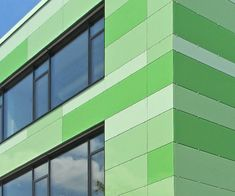 Finishes : Glassic – Clip-fixed glass façade with panes of colour-coated glass Glass Facades, Collor, Green Architecture, Cladding, Colored Glass, Multi Story Building, Garage, It Is Finished, Coloured Glass