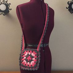 Bag Granny Square Pink Gray Crochet  Purse